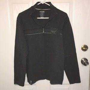 New Men's Dark Gray Zip Up Sweater Shirt Medium